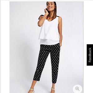 M & S collection black polka dot capris 8